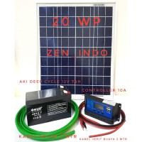 Paket Hemat Solar Cell Solar Panel 20WP DKD, Controller 10 A,Aki12V7AH
