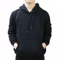 Sweater Hoodie Polos Hitam Size L,XL,XXL Pria Wanita