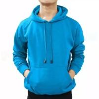 Sweater hoddie polos biru size L,XL,XXL Pria Wanita