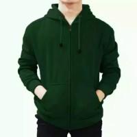 Sweater Hoodie Polos Hijau Botol Size L,XL,XXL Pria Wanita
