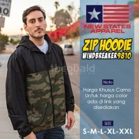 Jaket Hoodie Zipper Polos New States Apparel Windbreaker 9810 ( CAMO )