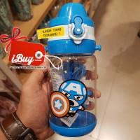 Miniso Cute Captain America Botol Minum Anak With Tali Blue