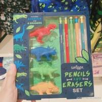 Original Smiggle Pencil dan Eraser Set Dinosaurus Smiggle