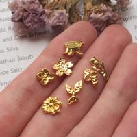 Sprinkle Mini Metal 3D Bunga Daun Jamur Nail Art Topping Isi Resin