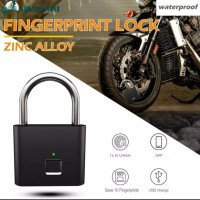 🔒⚫Black Smart Fingerprint Padlock Gembok Koper Pintar Anti Maling