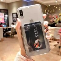 Anti Crack Card Holder Kartu Iphone X XS case casing cover transparan