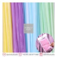 Tirai Foil Pastel Macaron Slinger Backdrop Rumbai Curtain 2 meter