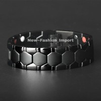 Gelang Import Pria Magnet Kesehatan Titanium Stainless 1.8cm - Black