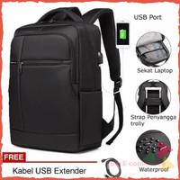 Tas Ransel Laptop Pria / Anti Air USB Port / Anti Maling / Tas Kuliah
