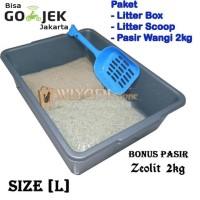 promo paket tempat kotoran kucing (litter boxl, scoop pasir, pasir