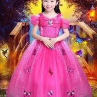 dress Cinderella pink baju pesta anak kostum Cinderella