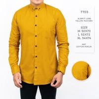 Kemeja Pria / Kemeja Polos Lengan Panjang Kuning Mustard