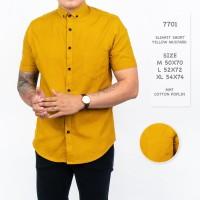 Kemeja Pria / Kemeja Polos Lengan Pendek Kuning Mustard