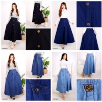 Rok Jeans Panjang Wanita Modis Trendy Allsize Up To XXL