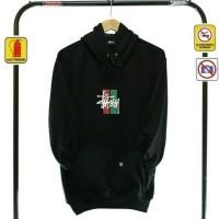 jaket sweater stussy oblong hoodie black premium/jaket distro murah