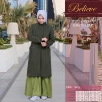 Baju Jacket Muslimah Believe Long Coat BJM 15 Navy/Grey/Hitam/Army