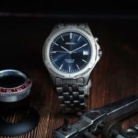 SEIKO KINETIC TITANIUM blue dial jam tangan pria asli original antik