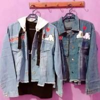 jaket jeans wanita motif snopy