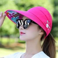 WG Topi Visor Pelindung Matahari UV Lipat Casual Anti UV Untuk Wanita