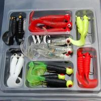 GN 17Pcs/Set Mini Soft Fishing Lure Jig Head Hook Grub Worm Silicone