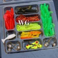 GN 35Pcs Soft Worm Fishing Bait Lure+10Pcs Lead Jig Head Hooks Combo