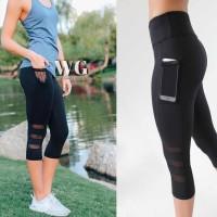 Celana Legging Panjang Wanita Sexy High Waist Bahan Mesh untuk Yoga /