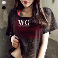 GN Summer Women Short Sleeve Mesh Hollow Out Yoga T-shirt Quick