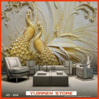 3D Wallpaper Dinding | Wall Sticker Custom|Motif Lukisan Burung 3D 008