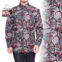 Kemeja Batik Pria Size M L XL XXL Lengan Panjang Katun Abu Muntasir