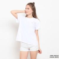 Baju kaos oblong gambar simple wanita cotton import FKAO02 Putih