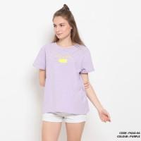Baju kaos salur tulisan simple wanita cotton import FKAO06 Purple
