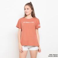 Baju kaos oblong gambar simple wanita cotton import FKAO03 Brown