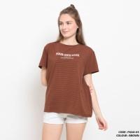 Baju kaos salur gambar simple wanita cotton import FKAO05 BROWN