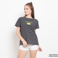 Baju kaos salur tulisan simple wanita cotton import FKAO06 Black