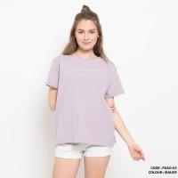 Baju kaos salur gambar simple wanita cotton import FKAO05 MAUVE