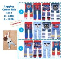 Legging Bayi Laki 4pcs Cotton Rich Motif Buka Kaki