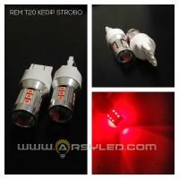 lampu led rem mobil t20 4 kawat strobo 15 titik 3030 proyektor lensa