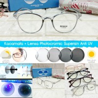 kacamata frame oval + lensa photocromic rubah warna
