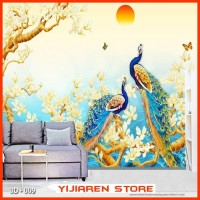 3D Wallpaper Dinding | Wall Sticker Custom Motif Lukisan Burung 3D 009