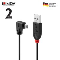 LINDY #31970 USB 2.0 Cable -A to Mini-B, 90 Degree Right Angle, 0,5m