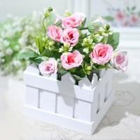 bunga plastik hias artificial pot pagar MAWAR ROSE SHABBY CHIC A1-1