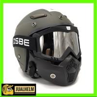 Helm JPN MOMO Hijau Army Google Mask OSBE (Retro/Bogo/Klasik/Classic)