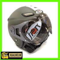 Helm JPN MOMO Pilot Hijau Army (Helm Retro/Bogo/Klasik/Classic/Vespa)