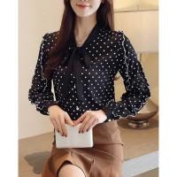 kemeja wanita katun hitam motif totol totol putih cantik korea lengan