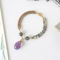 Olivia Bracelet // Gelang Batu Amethyst & Labradorite Crystals