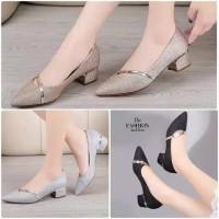 Sepatu pesta wanita glossy gliter hak tinggi kotak tahu high heels oke