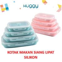 Kotak Makan Siang Lipat Silicone Lunch Box BPA Free Anti Tumpah Pecah - Merah Muda, 350ml