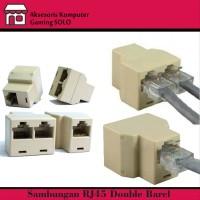 Splitter RJ45 cat5-konektor cabang rj45 female to 2 rj45 female