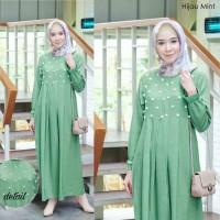 Gamis muti hijau mint baju muslim wanita remaja simpel murah mut At