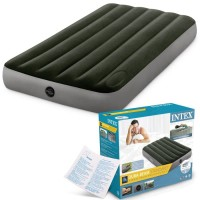 INTEX KASUR ANGIN DURABEAM AIRBED 64761 TWIN BUILT IN FOOT PUMP